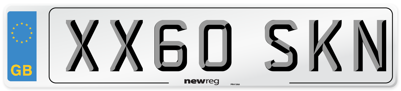 XX60 SKN Number Plate from New Reg