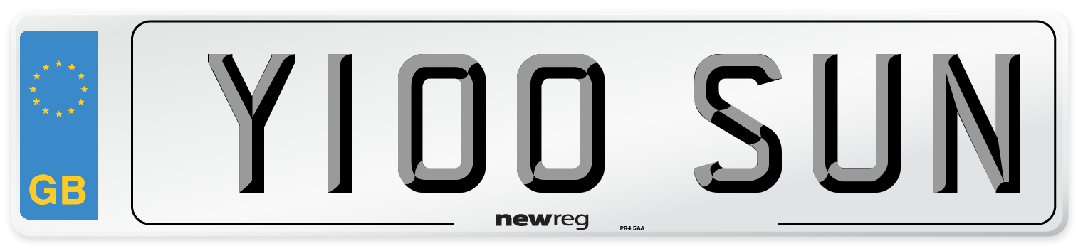 Y100 SUN Number Plate from New Reg