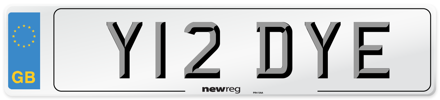 Y12 DYE Number Plate from New Reg