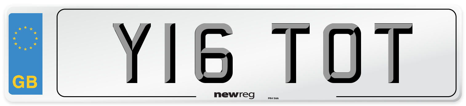 Y16 TOT Number Plate from New Reg