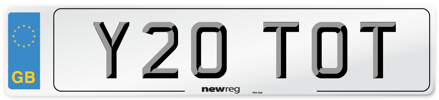 Y20 TOT Number Plate from New Reg