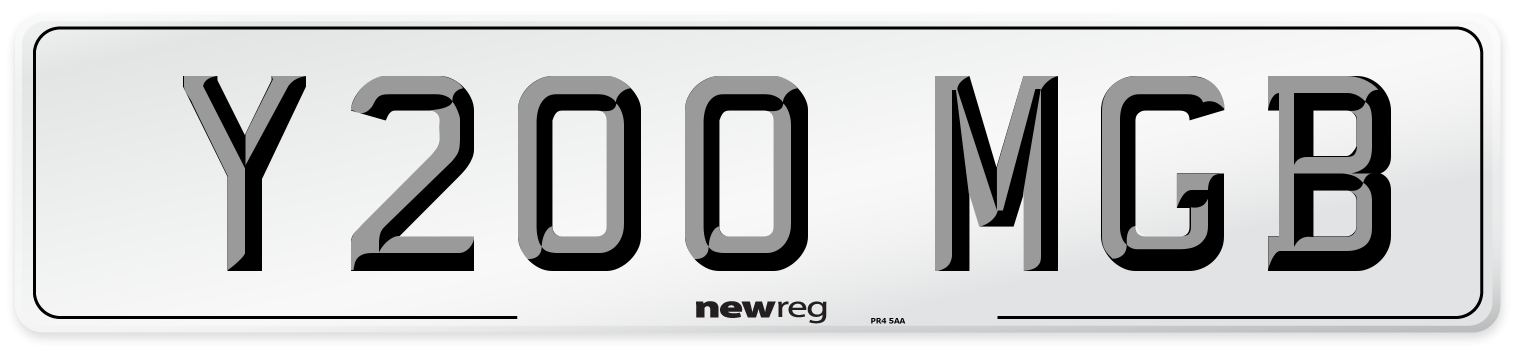 Y200 MGB Number Plate from New Reg