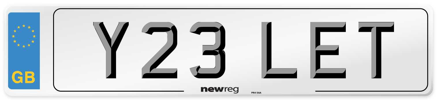 Y23 LET Number Plate from New Reg