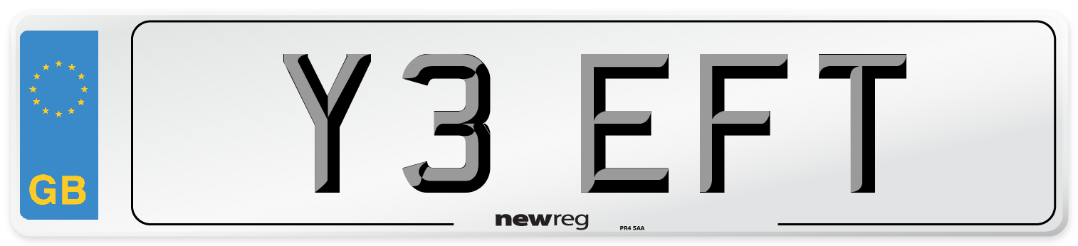 Y3 EFT Number Plate from New Reg