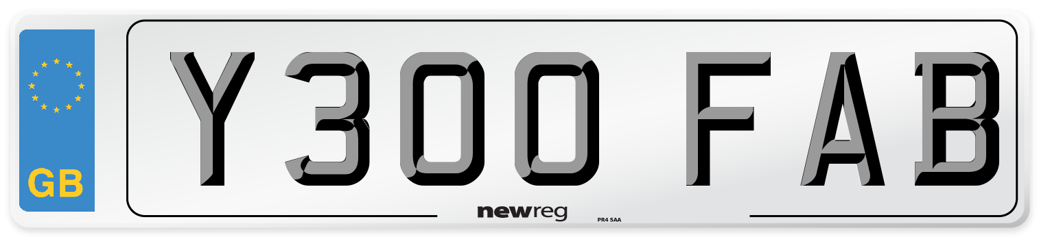 Y300 FAB Number Plate from New Reg