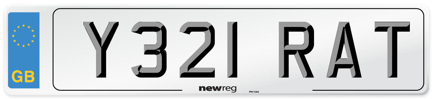 Y321 RAT Number Plate from New Reg
