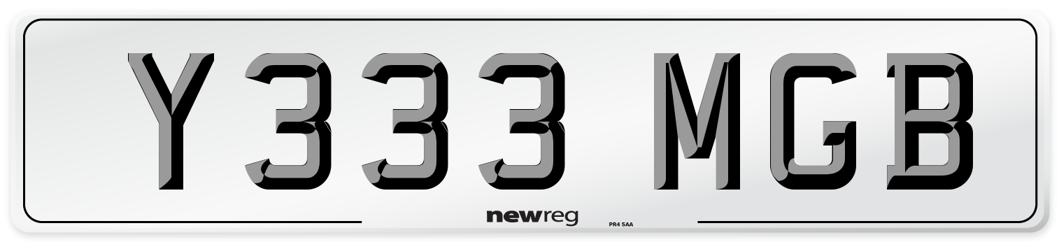 Y333 MGB Number Plate from New Reg