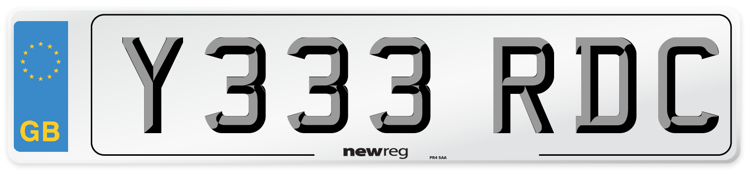 Y333 RDC Number Plate from New Reg