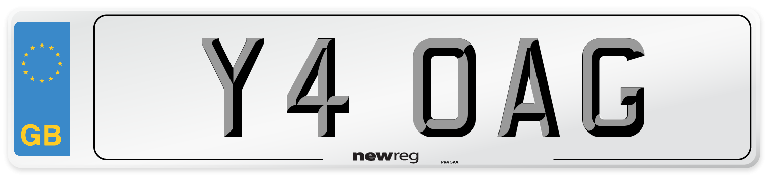 Y4 OAG Number Plate from New Reg