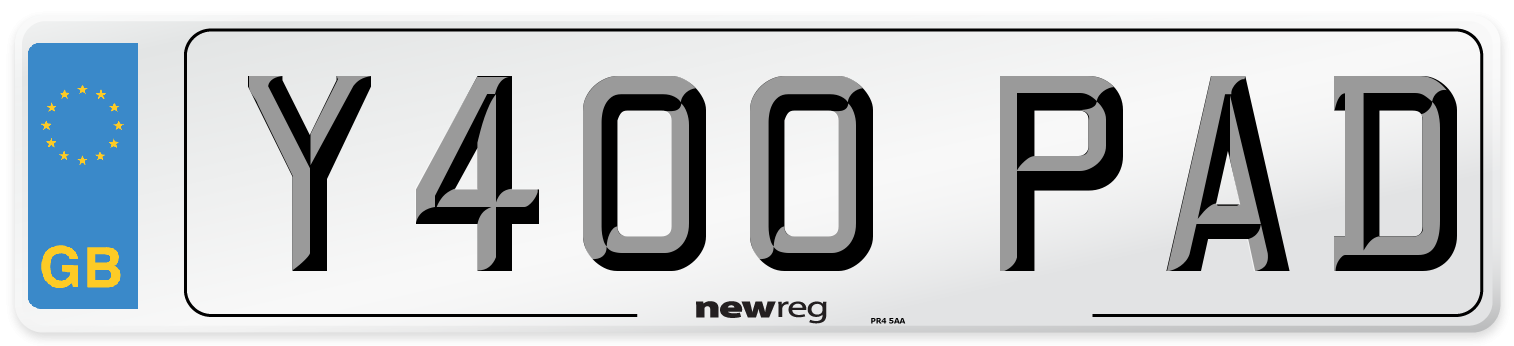 Y400 PAD Number Plate from New Reg