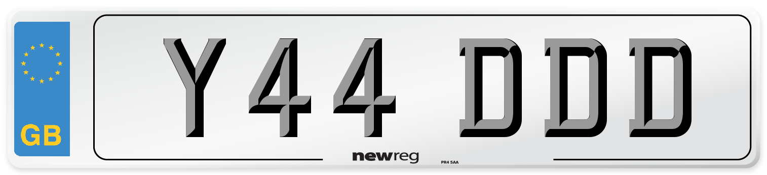 Y44 DDD Number Plate from New Reg