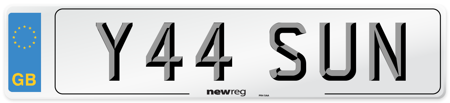 Y44 SUN Number Plate from New Reg