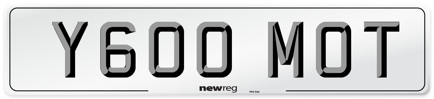 Y600 MOT Number Plate from New Reg