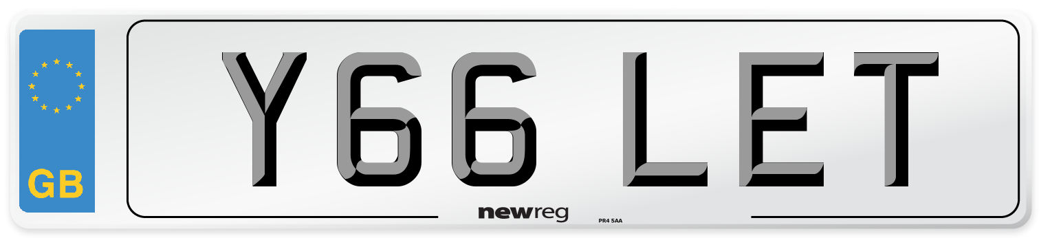 Y66 LET Number Plate from New Reg