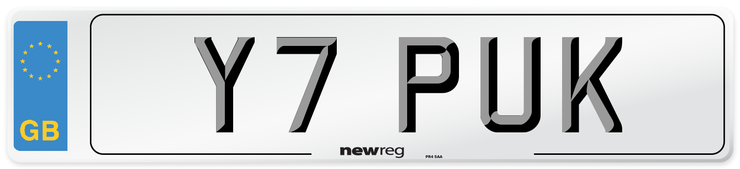 Y7 PUK Number Plate from New Reg