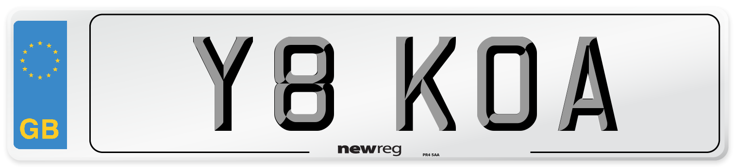 Y8 KOA Number Plate from New Reg