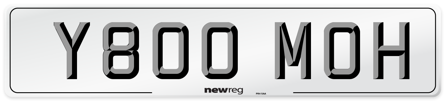 Y800 MOH Number Plate from New Reg