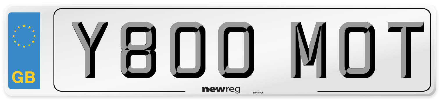 Y800 MOT Number Plate from New Reg