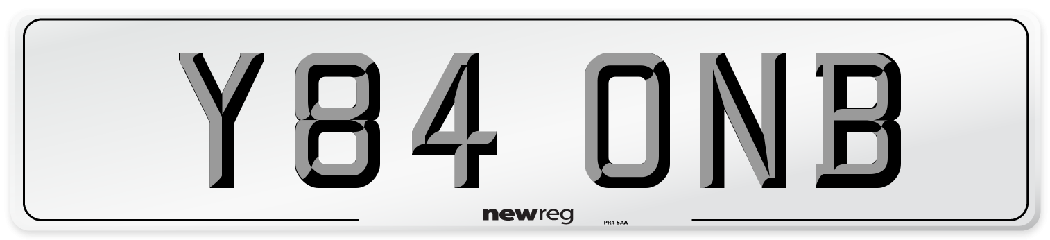 Y84 ONB Number Plate from New Reg