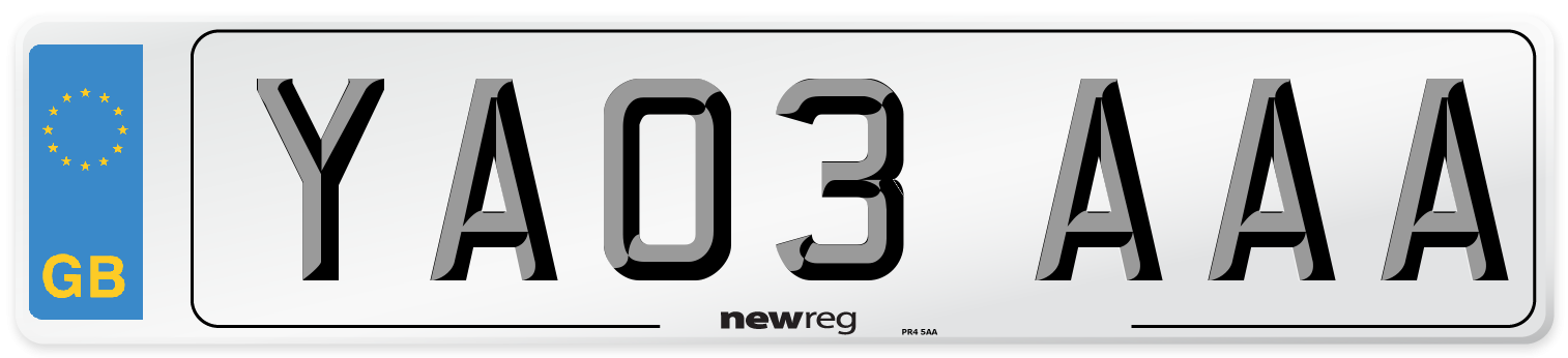 YA03 AAA Number Plate from New Reg