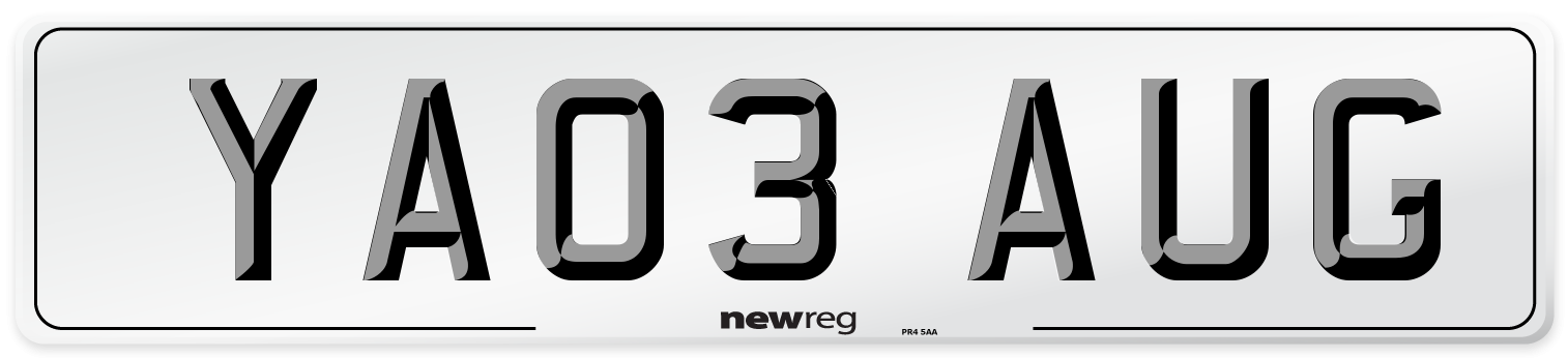 YA03 AUG Number Plate from New Reg
