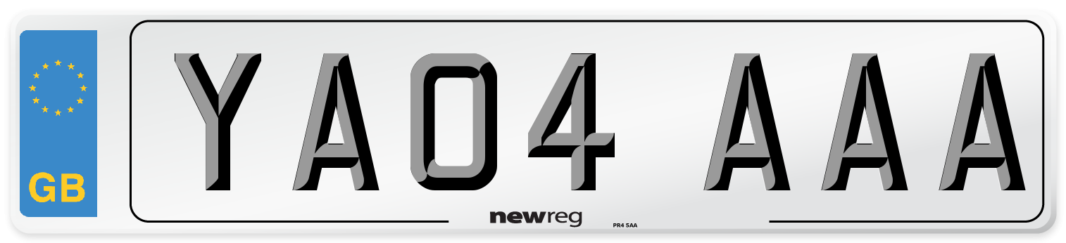 YA04 AAA Number Plate from New Reg