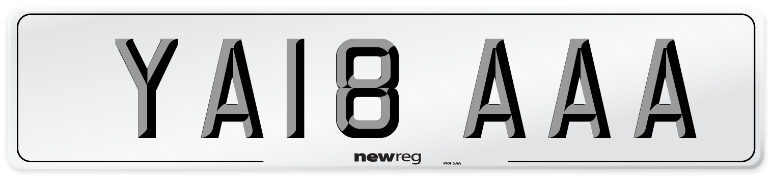 YA18 AAA Number Plate from New Reg