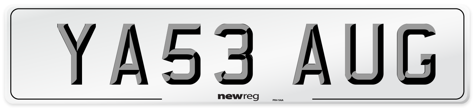 YA53 AUG Number Plate from New Reg