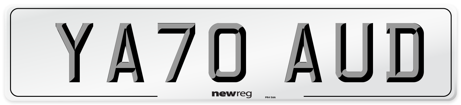 YA70 AUD Number Plate from New Reg