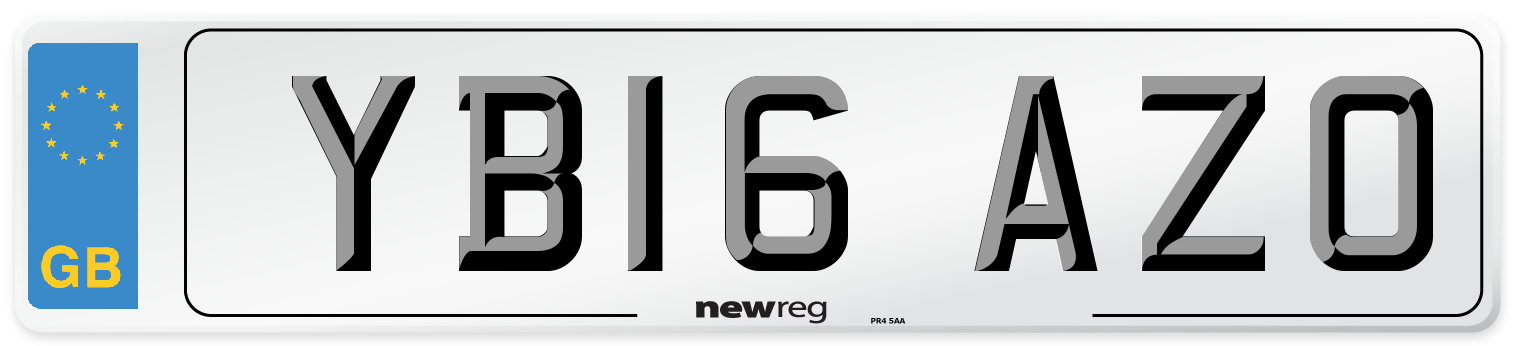 YB16 AZO Number Plate from New Reg