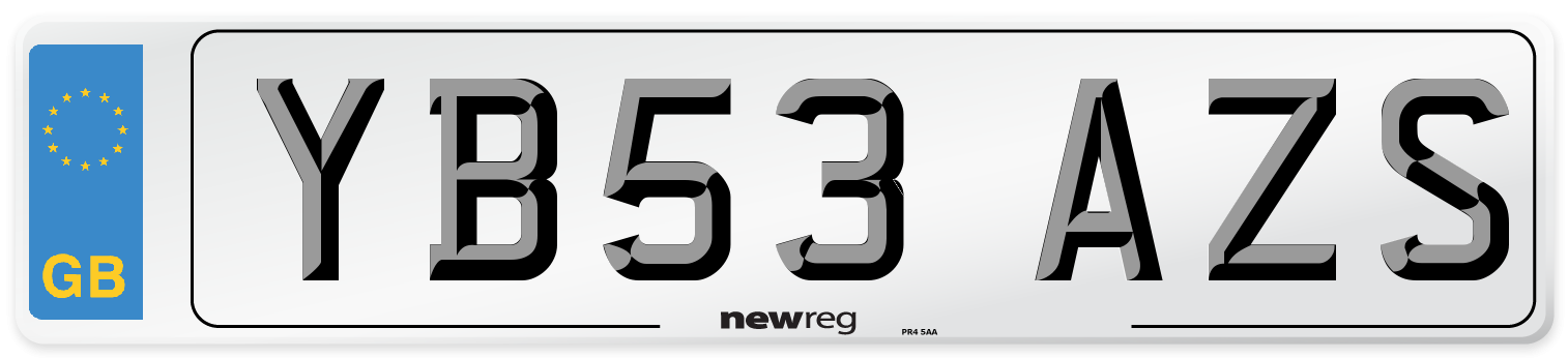 YB53 AZS Number Plate from New Reg