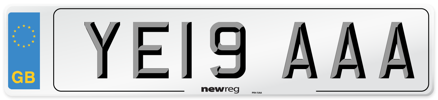 YE19 AAA Number Plate from New Reg