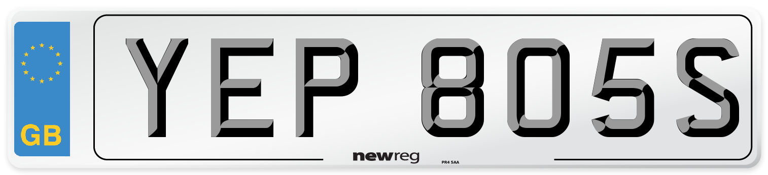 YEP 805S Number Plate from New Reg