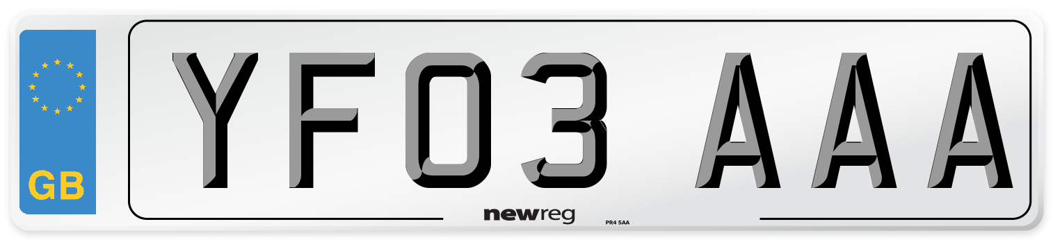YF03 AAA Number Plate from New Reg