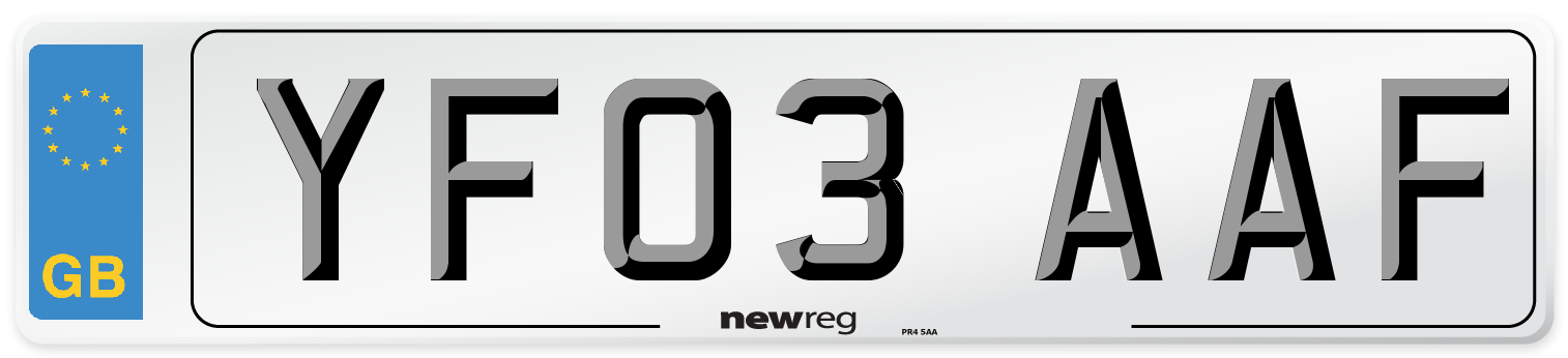 YF03 AAF Number Plate from New Reg