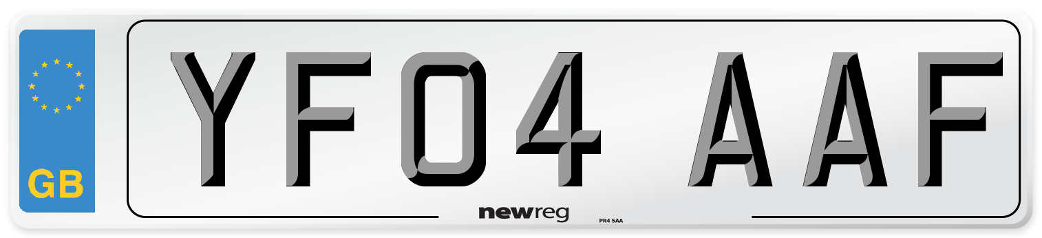 YF04 AAF Number Plate from New Reg