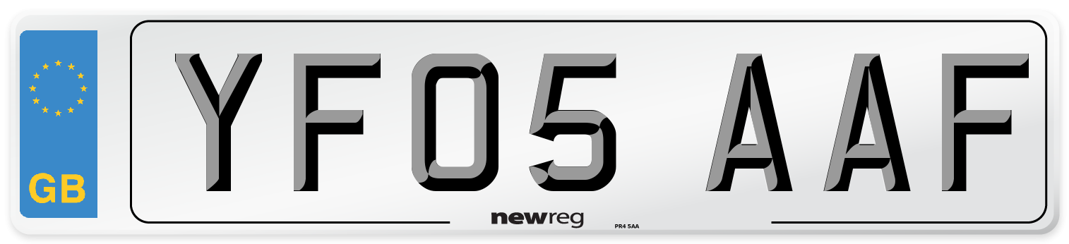 YF05 AAF Number Plate from New Reg
