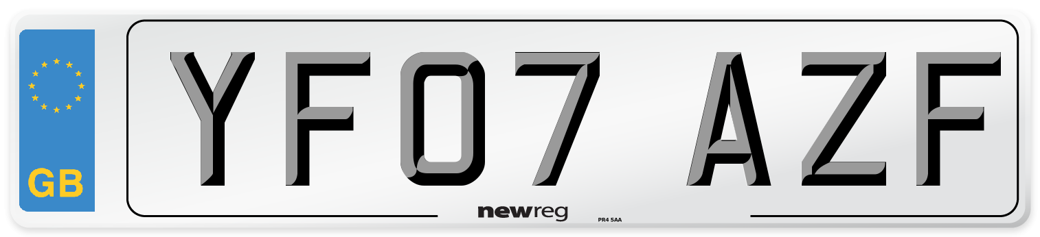 YF07 AZF Number Plate from New Reg