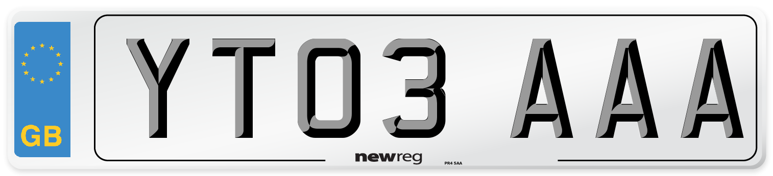 YT03 AAA Number Plate from New Reg