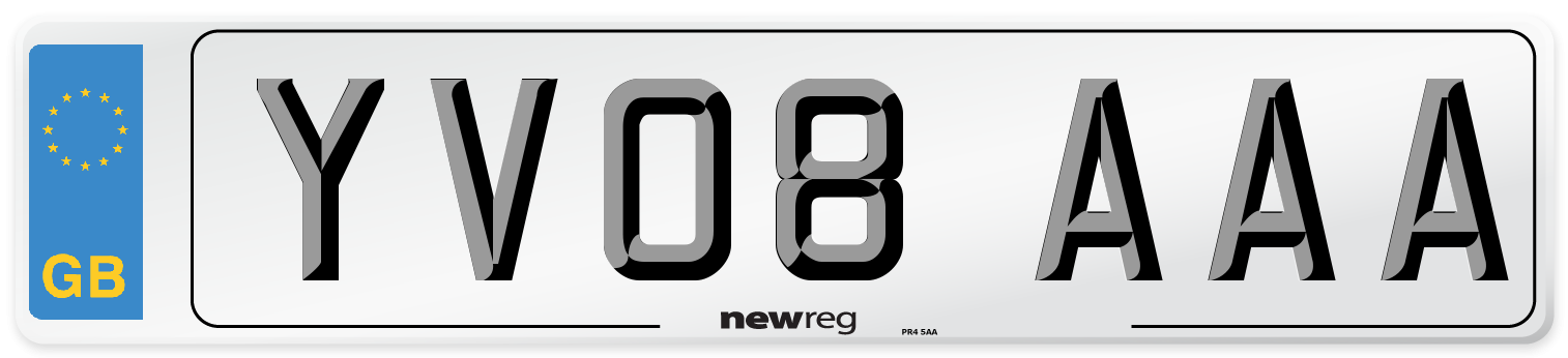 YV08 AAA Number Plate from New Reg