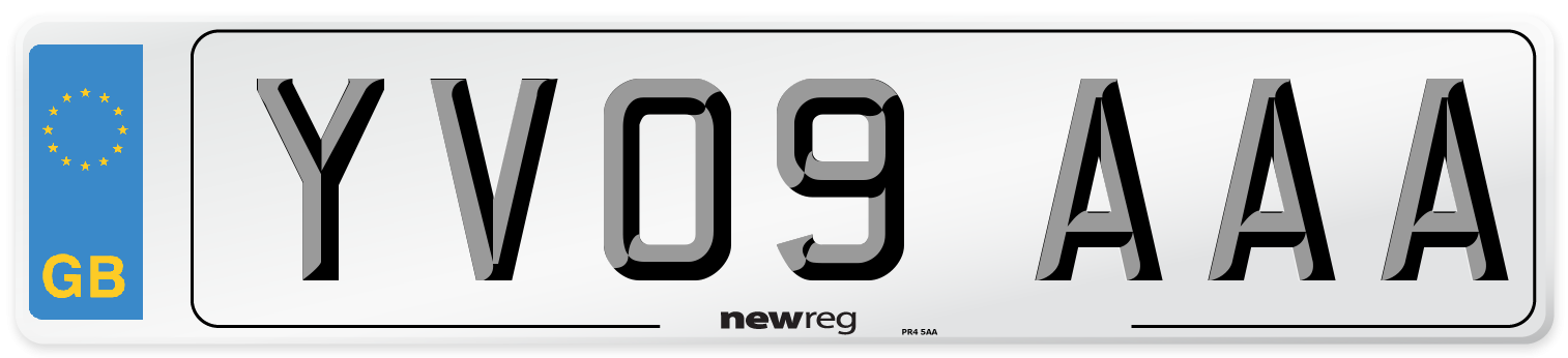 YV09 AAA Number Plate from New Reg