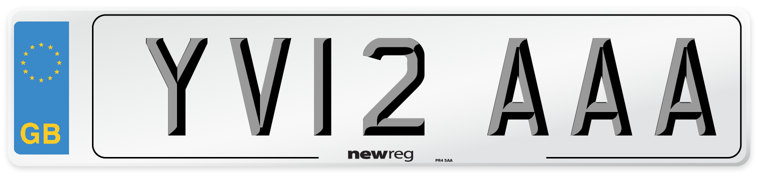 YV12 AAA Number Plate from New Reg