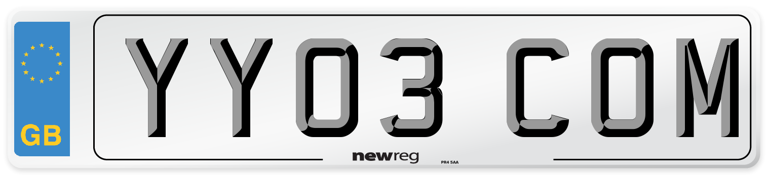 YY03 COM Number Plate from New Reg